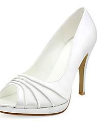 cetim superior stiletto heel toe bombas / com sapatos peep casamento ruched mais cores disponíveis