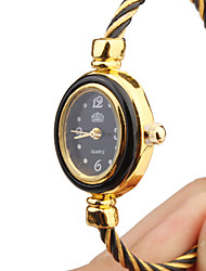 Women's Quartz Analog Black & Gold Wire Steel Band Bracelet Watch Cool Watches Unique Watches