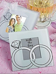 "cheap -""With This Ring"" Wedding Rings Design Glass Photo Coaster Favor (2 per Set)"