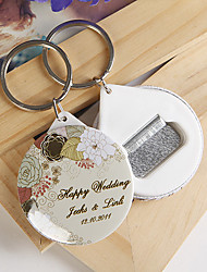 Personalized Bottle Opener / Key Ring - Elegant Flower (set of 12)