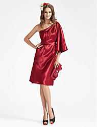 cheap -Sheath / Column One Shoulder Knee Length Charmeuse Bridesmaid Dress with Sash / Ribbon / Side Draping by LAN TING BRIDE® / Poet Sleeve
