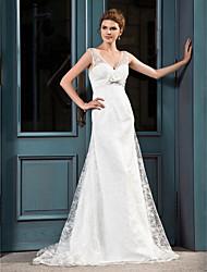 cheap -Sheath / Column V-neck Court Train Lace Wedding Dress with Sash / Ribbon Bow by LAN TING BRIDE®
