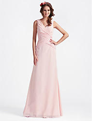 cheap -A-Line Princess V Neck Floor Length Chiffon Bridesmaid Dress with Criss Cross by LAN TING BRIDE®