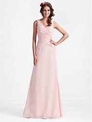abordables -Corte en A Princesa Escote en Pico Hasta el Suelo Raso Vestido de Dama de Honor con En Cruz por LAN TING BRIDE®
