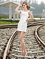 baratos -Tubinho Decote Quadrado Curto / Mini Cetim Vestidos de casamento feitos à medida com Drapeado Lateral de LAN TING BRIDE®