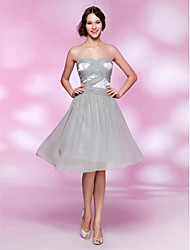 A-Line Princess Strapless Sweetheart Knee Length Chiffon Stretch Satin Homecoming Dress with Beading by TS Couture®