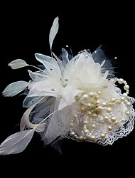 cheap -Crystal Feather Fabric Satin Tiaras Fascinators Flowers 1 Wedding Special Occasion Party / Evening Headpiece