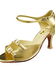 billige -Dansesko(Guld) -Kan ikke tilpasses-Stilethæle-Damer-Latin Ballet