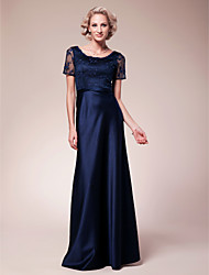 cheap -Sheath / Column Scoop Neck Floor Length Lace Satin Mother of the Bride Dress with Beading Lace by LAN TING BRIDE®
