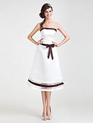 Trapèze Princesse Sans Bretelles Longueur Genou Organza Satin Robe de Demoiselle d'Honneur  avec Noeud(s) Ceinture / Ruban parLAN TING
