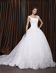 cheap -Ball Gown Off Shoulder / Straight Neckline Chapel Train Organza / Floral Lace Made-To-Measure Wedding Dresses with Beading / Appliques by