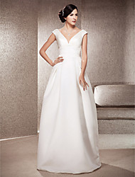 cheap -A-Line Princess V Neck Floor Length Satin Custom Wedding Dresses with Draping by LAN TING BRIDE®