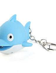 Dolphin Keychain with LED Flashlight and Sound Effects (Blue)