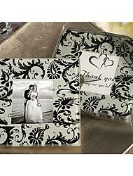 favor foto coaster com preto projeto damasco (conjunto de 2)
