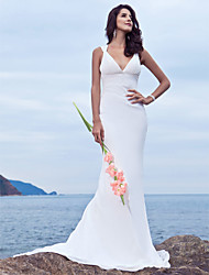 cheap -Mermaid / Trumpet Plunging Neckline Sweep / Brush Train Chiffon Custom Wedding Dresses with Beading by LAN TING BRIDE®