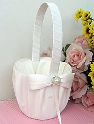economico -Bouquet Legno Raso Organza 9 cm Acrilico Con diamantini Fiocco Perle false Fiocchi