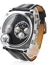 cheap -Men's Military Style Dual Time Zones Black PU Band Quartz Wrist Watch