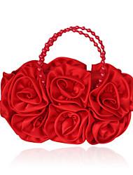 Kvinder Tasker Silke Aftentaske Imitationsperler Blomst for Fest Beige Rød Lys pink Lysebrun Krystal
