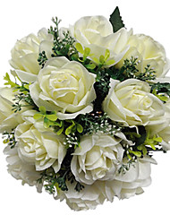 Bouquet sposa Tondo Rose Bouquet Matrimonio Raso Avorio 28cm