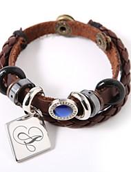 economico -bracciale in pelle personalizzata con fascino e gemma blu stile elegante