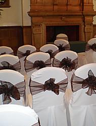 "Wedding Décor 7.8"" Chic Organza Chair Sash  – Set of 6 (More Colors)"