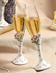 cheap -Chic Diamond-embedded Rose Design Wedding Toasting Flutes Wedding Reception
