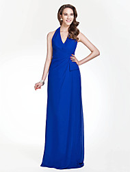 Sheath / Column Halter V-neck Floor Length Chiffon Bridesmaid Dress with Side Draping by LAN TING BRIDE®