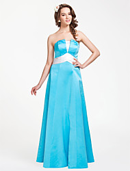 cheap -A-Line Princess Strapless Floor Length Satin Bridesmaid Dress with Ruched by LAN TING BRIDE®