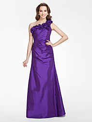 cheap -Floor-length Taffeta Bridesmaid Dress - Regency Plus Sizes / Petite A-line / Princess One Shoulder