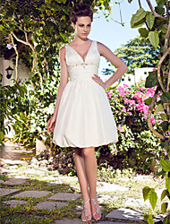 A-Line Halter Knee Length Taffeta Wedding Dress with Beading Ruche Side-Draped by LAN TING BRIDE®