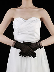 cheap -Lace Cotton Wrist Length Glove Charm Stylish Bridal Gloves Party/ Evening Gloves With Embroidery Solid