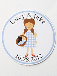 cheap -Personalized Round Favor Stickers – Girl (Set of 36)