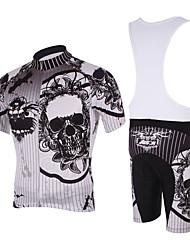 Kooplus Homens Manga Curta Camisa com Bermuda Bretelle Caveiras Moto Calções Bibes Camisa/Roupas Para Esporte Conjuntos de Roupas,