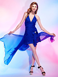 cheap -A-Line Princess Halter V-neck Asymmetrical Chiffon Stretch Satin Cocktail Party Dress with Crystal by TS Couture®
