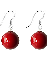 cheap -Women's Lovely Ball Pearl Imitation Pearl 1 1 Pair Drop Earrings - Simple Basic Sweet Red Blue Round Earrings For Date Daily Wear