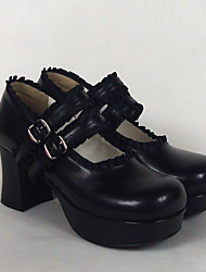 Lolita Shoes Classic/Traditional Lolita Lolita High Heel Shoes Solid 7.5 CM Pink Black White ForPU Leather/Polyurethane Leather