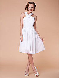 cheap -A-Line Straps Knee Length Chiffon Mother of the Bride Dress with Draping Flower Criss Cross by LAN TING BRIDE®