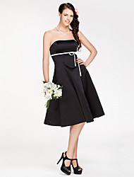 cheap -A-Line / Princess Strapless Knee Length Satin Bridesmaid Dress with Sash / Ribbon by LAN TING BRIDE®