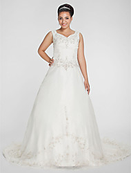 cheap -A-Line Princess V Neck Chapel Train Organza Custom Wedding Dresses with Beading Embroidery by LAN TING BRIDE®