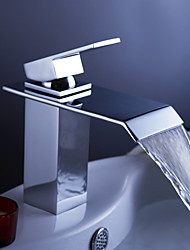 cheap -Contemporary Centerset Waterfall Ceramic Valve One Hole Single Handle One Hole Chrome , Bathroom Sink Faucet