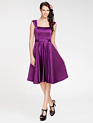 A-Line Princess Straps Knee Length Satin Bridesmaid Dress with Draping Sash / Ribbon by LAN TING BRIDE®