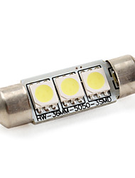 cheap -36mm 1W 3x5050 SMD 60LM White Light LED Bulb for Car Lamps (DC 12V)
