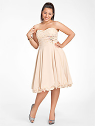 A-Line Princess Strapless Sweetheart Knee Length Chiffon Homecoming Dress with Beading by TS Couture®