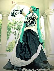 billiga -Inspirerad av Vocaloid Hatsune Miku Video Spel Cosplay-kostymer cosplay Suits / Klänningar Lappverk Långärmad Klänning / Krage / Midje accessoar Halloweenkostymer / Spets / Satin
