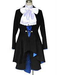 Inspireret af Sort Butler Ciel Phantomhive Anime Cosplay Kostumer Cosplay Kostumer Ensfarvet Langærmet Halsklud Frakke 背心 Trøje Shorts Til