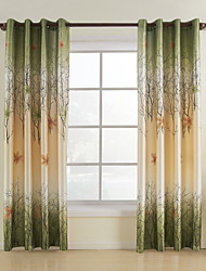 cheap -One Panel Curtain Country , Print Leaf Bedroom Polyester Material Curtains Drapes Home Decoration