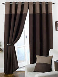 cheap -Rod Pocket Grommet Top Tab Top Double Pleat Two Panels Curtain Modern Solid Bedroom 100% Polyester Polyester Material Curtains Drapes