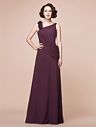 cheap -A-Line Straps Floor Length Chiffon Mother of the Bride Dress with Side Draping Ruffles by LAN TING BRIDE®