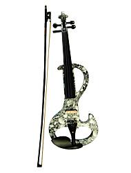 Недорогие -Kinglos - (DSZA-1312) Ebony частей Электрические скрипки с Case / Канифоль / Bow / Наушники / Кабель (скрещенные кости)