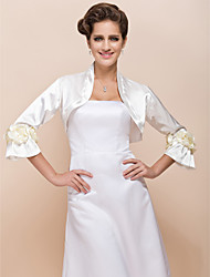 cheap -Long Sleeve Satin Wedding Wedding  Wraps With Flower Coats / Jackets
